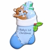 Item # 459112 - Blue Baby's First Christmas Stocking Ornament