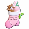 Item # 459113 - Pink Baby's First Christmas Stocking Christmas Ornament
