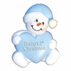 Item # 459118 - Blue Snowbaby With Heart Christmas Ornament