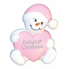 Item # 459119 - Pink Snowbaby With Heart Christmas Ornament