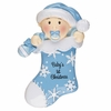 Item # 459141 - Blue Baby's First Christmas Stocking Christmas Ornament