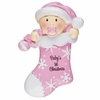 Item # 459142 - Pink Baby's First Christmas Stocking Christmas Ornament