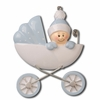 Item # 459213 - Blue Baby In Carriage Ornament