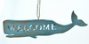 "Item # 483953 - 2.25"" Whale Welcome Sign Christmas Ornament"