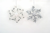 Item # 495350 - Plastic White/Silver Snowflake Christmas Ornament