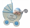Item # 525129 - Blue Baby Buggy Ornament