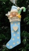 Item # 525133 - Blue Long Baby Stocking Ornament