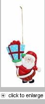 Item # 536020 - Flat Resin Santa Claus With Gift Christmas Ornament/Magnet