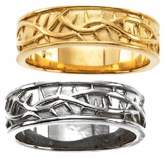 14k Yellow Thorns Religious Ring Christian Wedding Bands