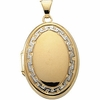 14K Two Tone Oval Locket with Greek Key design