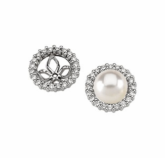14k White Gold Diamond Earring Jackets Fordiamonds Or Pearls For 9 10mm Pearl