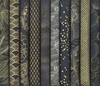 NEW! 10 Gold Metallic Designs on Black/Charcoal FQ Collection (2 1/2 Yds)