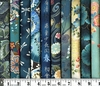 10 TEAL ASIAN JAPANESE FAT QUARTERS (2 1/2 YDS)