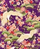 1000 CRANES: Cranes in Japanese Garden - Purple/Gold (1/2 yd)
