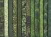 12 Green Tonal Fat Quarter Collection (3 Yards)