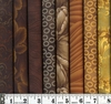8 BROWN/GOLD TONAL FAT QUARTERS: 2 Yds.