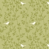 ASAMI COLLECTION: Song Birds - Olive Green (1/2 Yd.)