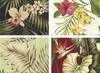 BARKCLOTH COLLECTION IV: Beautiful Tropical Flowers - 4 Pieces
