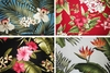 BARKCLOTH COLLECTION VII: Beautiful Tropical Flowers - 4 Pieces