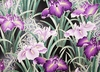 Breathtaking Japanese Irises: Amethyst/Gold Metallic (1/2 Yd.)