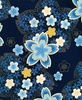 CHERRY BLOSSOMS AFLOAT: Blue (1/2 Yd.)