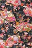 Colorful Japanese Kimono Design: Black (1/2 Yd.)