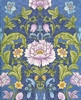 COTTON SATEEN: Floral Filigrees - Blue (1/2 Yd.)