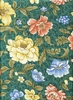COTTON SATEEN: Floral Garden - Teal Green (1/2 Yd)