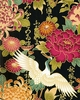 Cranes in Floral Garden -  Black Asian Japanese Fabric (Per 1/2 Yd)