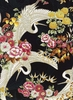 CRANES IN FLORAL GARDEN: Black/Gold Metallic (1/2 Yd.)