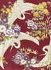 CRANES IN FLORAL GARDEN: Burgundy/Gold Metallic (1/2 Yd.)