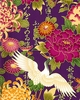CRANES IN FLORAL GARDEN: Purple (1/2 Yd)