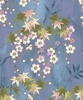Delicate Blossoms And Japanese Maple: Blue Orchid/Gold (1/2 yd.)