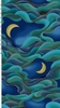 DRAGON MOON: Crescent Moons and Waves: Indigo/Gold (1/2 Yd.)