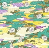 EMAKI COLLECTION: Drifting Landscape - Turquoise/Gold Metallic (1/2 Yd)