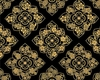 FLORAL MEDALLIONS IN GOLD METALLIC: Black (1/2 Yd.)