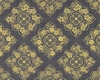 FLORAL MEDALLIONS IN GOLD METALLIC: Charcoal Grey (1/2 Yd.)