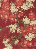 Gorgeous Cherry Blossoms: Garnet Red/Gold (1/2 yd)