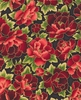 Gorgeous Peonies: Crimson/Gold (1/2 Yd.)