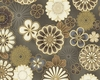 GRAPHIC ASIAN BLOOMS: Cream/Brown (1/2 yd.)