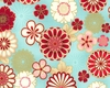 GRAPHIC ASIAN BLOOMS: Turquoise (1/2 yd.)