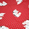 "Handkerchief with Adorable Cat and Dotted Design: Red  (12 1/2"" Square)"