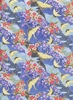 Japanese Cranes & Plum Blossoms: Blue/Gold (1/2 Yd.)