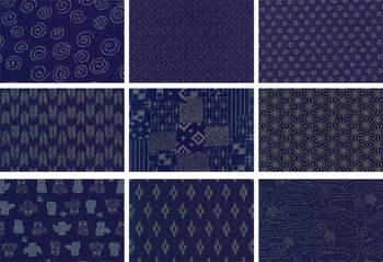 JAPANESE INDIGO FABRIC: 9 FQ Designs (2 1/4 YDS)
