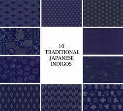 JAPANESE INDIGO FABRIC: 10 FQ Designs (2 1/2 YDS)