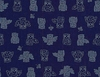JAPANESE INDIGO FABRIC: OWLS (1/2 YD)