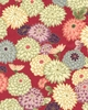 JAPANESE KIMONO DESIGN: Mums Afloat- Red/Gold (1/2 yd)