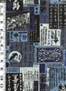 JAPANESE RETRO PLACARDS & SIGNBOARDS: Blue/Grey (1/2 yd)
