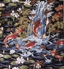 KOI IN FLORAL GARDEN: Black (1/2 yard)