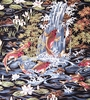 KOI IN FLORAL GARDEN: Black (1 yard)